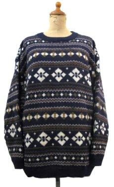 """画像1: 1980's~ """"Nordstrom"""" Shetland Wool Nordic Sweater NAVY size M (表記 M) (1)"""
