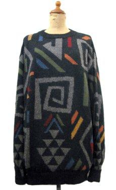 """画像1: """"WALIKI"""" Alpaca Hair Crew Neck Sweater 総柄 size L (表記 L) (1)"""