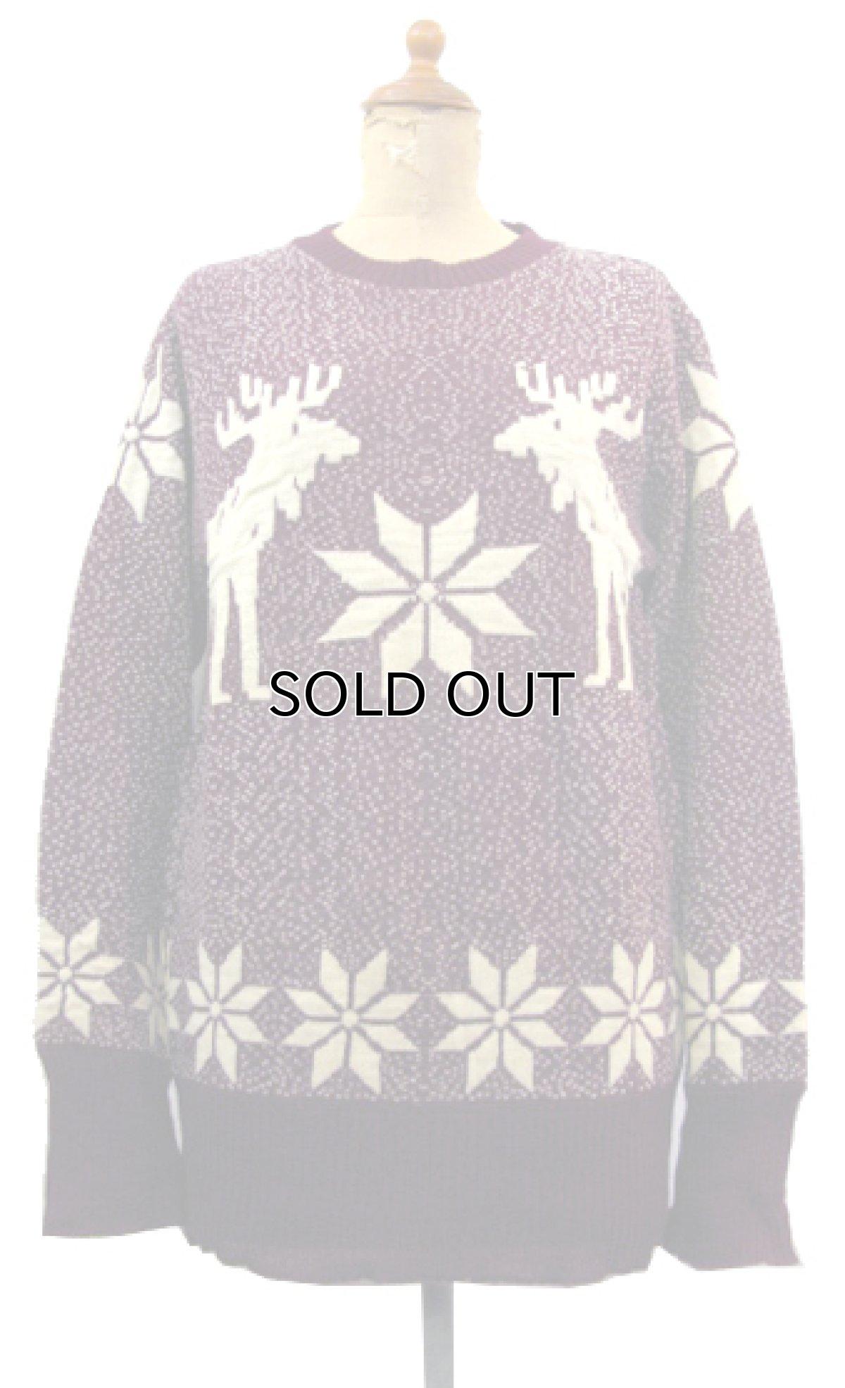"""画像1: 1940-50's """"Catalina"""" Wool Nordic Sweater Burgundy size S - M (表記 不明) (1)"""