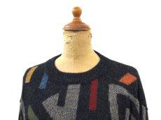 """画像5: """"WALIKI"""" Alpaca Hair Crew Neck Sweater 総柄 size L (表記 L) (5)"""