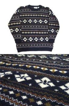 """画像3: 1980's~ """"Nordstrom"""" Shetland Wool Nordic Sweater NAVY size M (表記 M) (3)"""