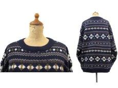 """画像2: 1980's~ """"Nordstrom"""" Shetland Wool Nordic Sweater NAVY size M (表記 M) (2)"""