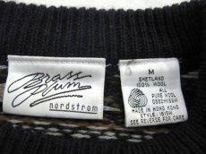 """画像5: 1980's~ """"Nordstrom"""" Shetland Wool Nordic Sweater NAVY size M (表記 M) (5)"""