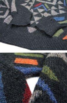 """画像4: """"WALIKI"""" Alpaca Hair Crew Neck Sweater 総柄 size L (表記 L) (4)"""