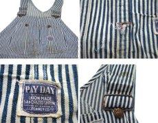 画像3: 1940-50's J.C.Penny PAY-DAY Hickory Stripe Overall Navy / White size L (表記 不明) (3)