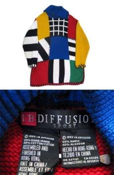 """画像4: 1990's """"I.B Diffusion"""" Design Cotton Knit Multi Color si ze L - XL (表記 M) (4)"""