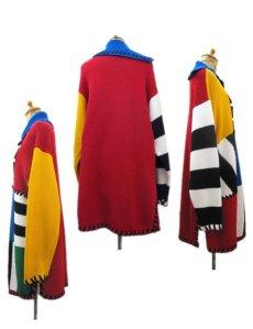 """画像2: 1990's """"I.B Diffusion"""" Design Cotton Knit Multi Color si ze L - XL (表記 M) (2)"""