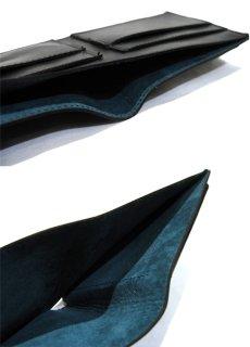 """画像4: """"JUTTA NEUMANN"""" Leather Wallet with Change Purse  color : Black / Emerald 二つ折り財布 (4)"""