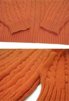 """画像4: """"L.L. Bean"""" Cotton Cable Sweater Orange size L-XL (表記 XL) (4)"""