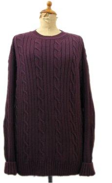 """画像1: """"DOCKERS-Levi's"""" Crew Neck Cable Cotton Knit Burgundy size M - L (表記 L) (1)"""