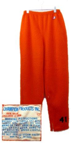 """画像1: 1960's """"Champion Product"""" Fleece Bottoms -made in USA- Orange size M (表記 12) (1)"""