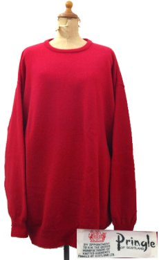 """画像1: 1980's~ """"Pringle"""" Lambswool Crew Neck Sweater -made in SCOTLAND- RED size XL (表記 不明) (1)"""