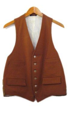 """画像1: OLD """"John Wanamaker"""" Pure Virgin Wool Vest Dead Stock -made in ENGLAND- Red Brown size M (表記 42) (1)"""