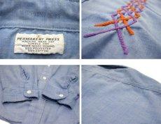 画像5: 1970's Permanent Press Embroidery Chambray Shirts Sax Blue size S - M (表記 M 15 - 15 1/2) (5)