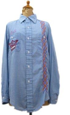 画像1: 1970's Permanent Press Embroidery Chambray Shirts Sax Blue size S - M (表記 M 15 - 15 1/2) (1)