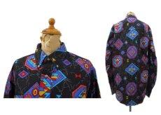 """画像2: 1980's~ """"Wrangler"""" Native Pattern BD Shirts -made in USA- BLACK size M (表記 15 - 34) (2)"""