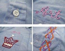 画像4: 1970's Permanent Press Embroidery Chambray Shirts Sax Blue size S - M (表記 M 15 - 15 1/2) (4)