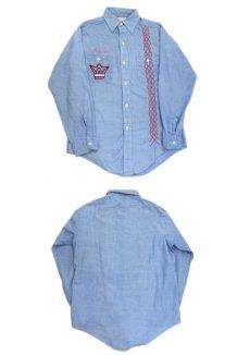 画像3: 1970's Permanent Press Embroidery Chambray Shirts Sax Blue size S - M (表記 M 15 - 15 1/2) (3)