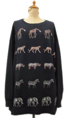 """画像1: 1990's """"FOCUS"""" Design L/S T-Shirts """"Animal Print"""" BLACK size L-XL (表記 ONE SIZE FITS ALL) (1)"""
