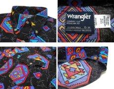 """画像4: 1980's~ """"Wrangler"""" Native Pattern BD Shirts -made in USA- BLACK size M (表記 15 - 34) (4)"""