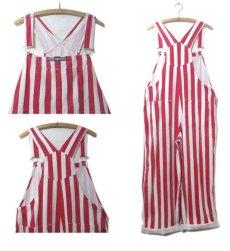 """画像2: 1980's """"GAME BIBS"""" Wide Stripe Overall Red / White size M - L (表記 不明) (2)"""