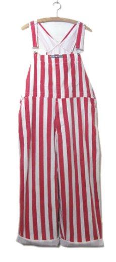 """画像1: 1980's """"GAME BIBS"""" Wide Stripe Overall Red / White size M - L (表記 不明) (1)"""