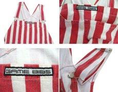 """画像3: 1980's """"GAME BIBS"""" Wide Stripe Overall Red / White size M - L (表記 不明) (3)"""