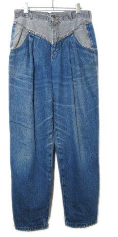 """画像1: 1980's """"ZENA"""" Design Tuck Denim Pants -made in USA- Blue Denim / Black Denim size w 30.5 inch (1)"""