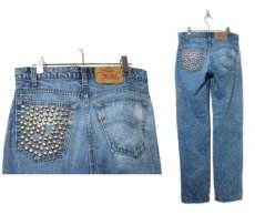 画像2: 1990's Levi Strauss & Co. Lot 505 Denim Pants with Studs Blue Denim size w 31 inch (表記 32 x 32) (2)