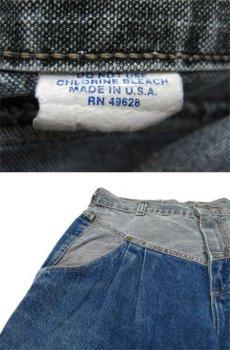 """画像5: 1980's """"ZENA"""" Design Tuck Denim Pants -made in USA- Blue Denim / Black Denim size w 30.5 inch (5)"""