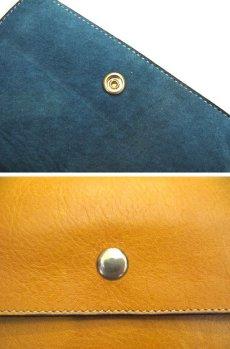 """画像4: """"JUTTA NEUMANN"""" Leather Wallet """"the Waiter's Wallet""""  Medium Size color : Mustard / Turquoise (4)"""