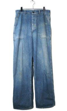 """画像1: 1940's """"US NAVY"""" Denim Deck Trousers Indigo Blue size w 32 inch (1)"""