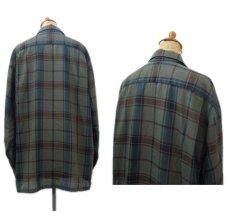"""画像2: 1960's """"The Halle Bros. Co."""" Check Pattern Box Shirts GREEN size L (表記 L 33) (2)"""