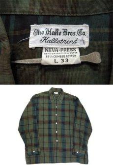 """画像4: 1960's """"The Halle Bros. Co."""" Check Pattern Box Shirts GREEN size L (表記 L 33) (4)"""