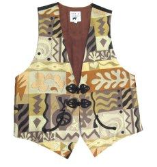 画像3: MAX & MABEL Design Vest (総柄) Brown - Beige size L (3)