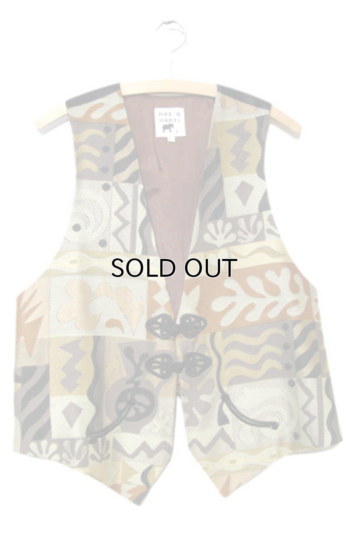 画像1: MAX & MABEL Design Vest (総柄) Brown - Beige size L (1)