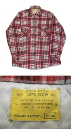 "画像3: 1970's ""Sears"" Check Pattern Flannel Shirts with Quilting Liner Red size M-L (表記  M 15-15 1/2) (3)"