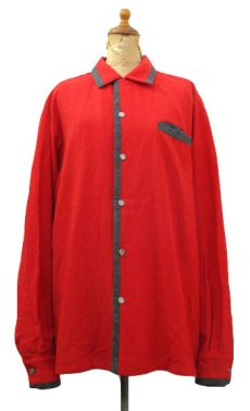 "画像1: 1950's ""Sportsman by CAL-MADE"" Two-tone Wool Shirts Red / C.Grey size L (表記 L) (1)"