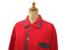 "画像3: 1950's ""Sportsman by CAL-MADE"" Two-tone Wool Shirts Red / C.Grey size L (表記 L) (3)"