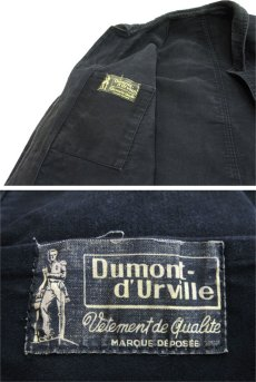 "画像4: 1950's~ French ""Dumont Durville"" Cotton Moleskin Jacket BLACK size S - M (4)"