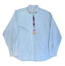 """画像4: 1990's~ """"Wrangler"""" Cotton Decoration Shirts Sax Blue size M - L (表記 M) (4)"""