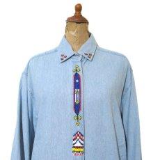 """画像3: 1990's~ """"Wrangler"""" Cotton Decoration Shirts Sax Blue size M - L (表記 M) (3)"""
