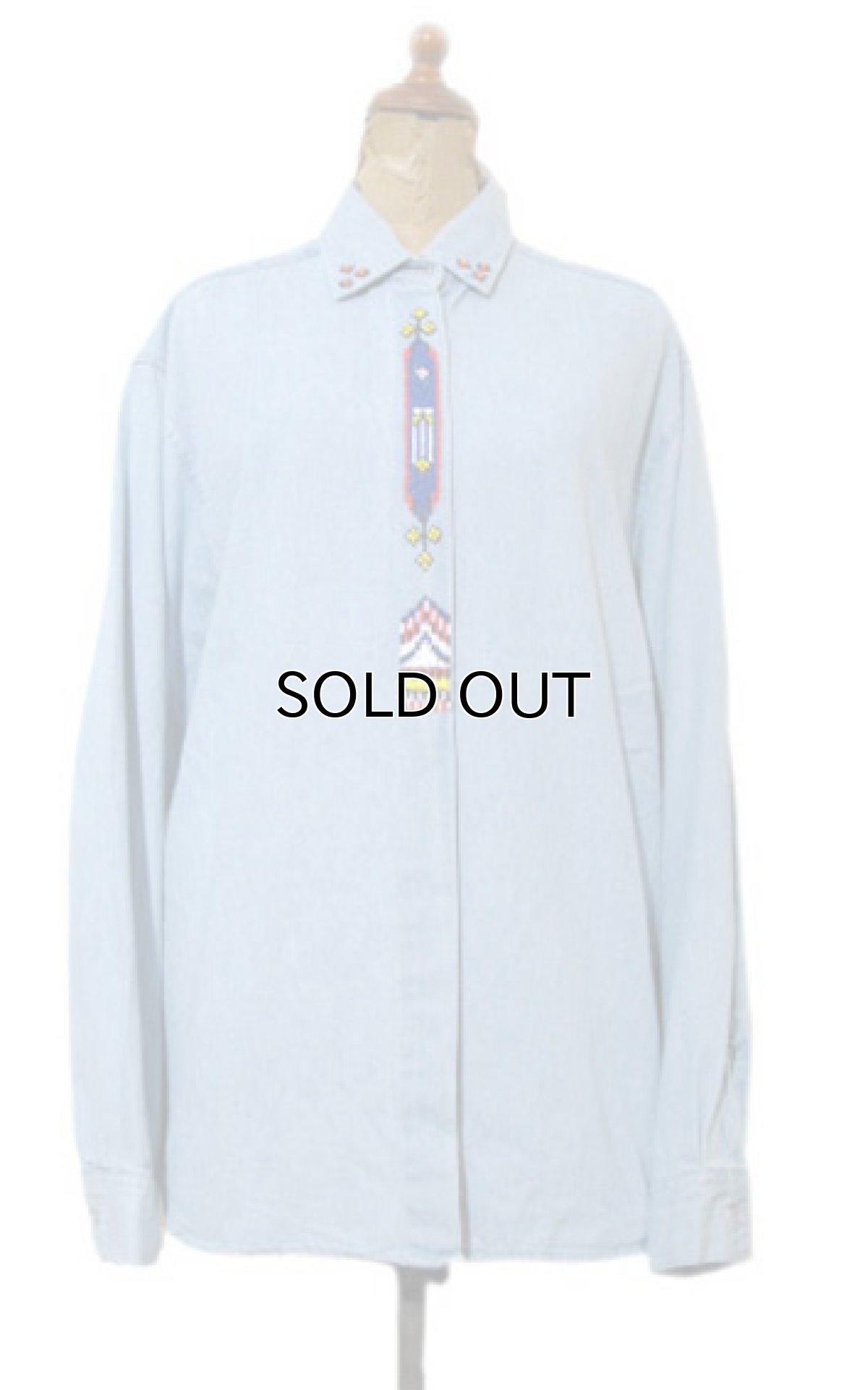 """画像1: 1990's~ """"Wrangler"""" Cotton Decoration Shirts Sax Blue size M - L (表記 M) (1)"""