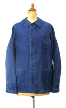 "画像1: 1950's~ French ""A St Michel"" Moleskin Jacket Faded Blue size S - M (表記 不明) (1)"