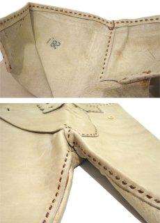 画像6: 1970's USA ELK HIDE Leather Pants -hand made & hand stitch- BEIGE size w 32 inch (6)