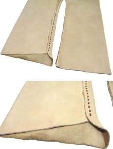 画像7: 1970's USA ELK HIDE Leather Pants -hand made & hand stitch- BEIGE size w 32 inch (7)