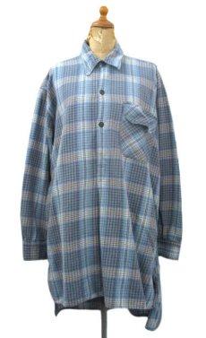 画像1: OLD French Cotton Pullover Long Shirts BLUE系 size L (1)