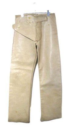 画像1: 1970's USA ELK HIDE Leather Pants -hand made & hand stitch- BEIGE size w 32 inch (1)