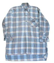 画像3: OLD French Cotton Pullover Long Shirts BLUE系 size L (3)
