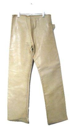 画像2: 1970's USA ELK HIDE Leather Pants -hand made & hand stitch- BEIGE size w 32 inch (2)